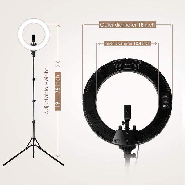 Aro de Luz LED profesional regulable 18″-48cm con Trípode – Maquillaje-Fotografía-Tatuaje-Youtube