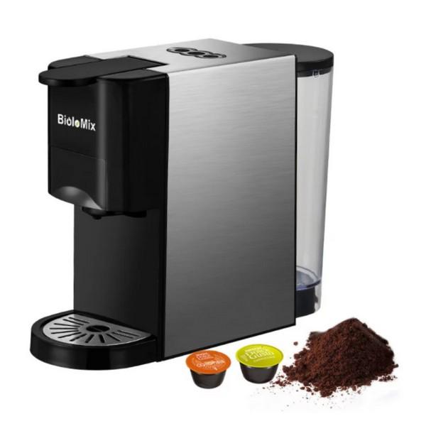BioloMix cafetera Espresso 3 en 1 con cápsula múltiple de 19Bar y 1450W- compatible con Nespresso,Dolce Gusto y café molido